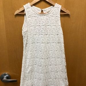 White Lace Dress with Peek-a-Boo Eyelet